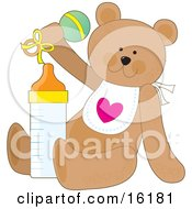 Cute Brown Teddy Bear Wearing A White Bib With A Heart Sitting With A Baby Bottle And Shaking A Rattle