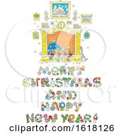 Merry Christmas And Happy New Year Greeting Under A Hearth