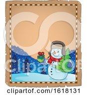 Christmas Snowman Parchment Border