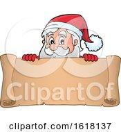 Poster, Art Print Of Christmas Scroll With Santa