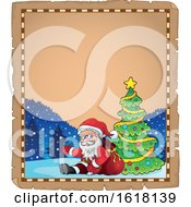 Parchment Christmas Border With Santa