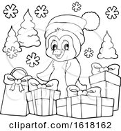 Black And White Christmas Penguin With Gifts