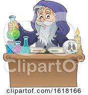 Wizard Performing Alchemy by visekart