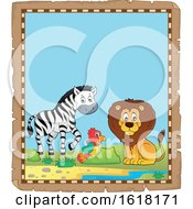Poster, Art Print Of Parchment African Animals Border