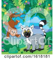 Happy Lemur And Monkey by visekart
