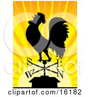 Silhouetted Rooster Crowing On A Weathervane At Sunrise
