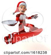 3d White Male Super Hero Christmas Santa With A Hover Skateboard On A White Background