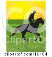 Jockey Riding A Horse And Silhouetted Against The Sunrise Clipart Illustration Image