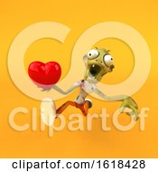 Poster, Art Print Of 3d Zombie On A Yellow Background