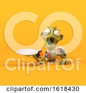3d Zombie On A Yellow Background