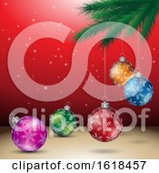 Poster, Art Print Of Tree Branch And Christmas Bauble Ornaments Over Red