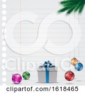 Piece Of Ruled Paper With Christmas Ornaments A Gift And Branch