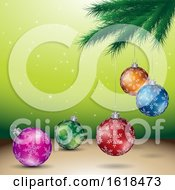 Poster, Art Print Of Tree Branch And Christmas Bauble Ornaments Over Green