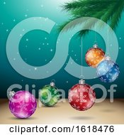 Poster, Art Print Of Tree Branch And Christmas Bauble Ornaments Over Turquoise