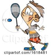 Poster, Art Print Of Cartoon White Boy Playing Squash