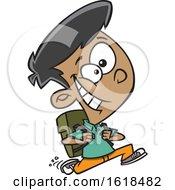 Poster, Art Print Of Cartoon School Boy Running To Class