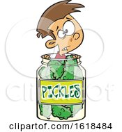 Poster, Art Print Of Cartoon White Boy Caught In A Pickle Jar