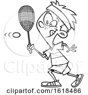Cartoon Outline Boy Playing Squash