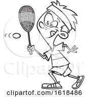 Poster, Art Print Of Cartoon Outline Boy Playing Squash