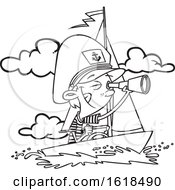 Poster, Art Print Of Cartoon Outline Captain Boy Looking Through A Telescope