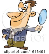 Cartoon Vain White Man Holding A Mirror