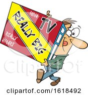 Cartoon White Man Carrying A Really Big Tv