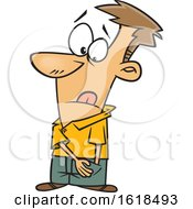 Cartoon White Man Reaching For Spare Change In His Pocket