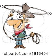 Poster, Art Print Of Cartoon White Cowboy Swinging A Lasso And Performing A Rope Trick