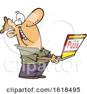 Cartoon Happy White Man Holding A Box Of Good Pizza