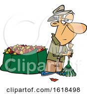 Cartoon Tired Old White Man After Raking And Bagging Autumn Leaves