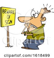Poster, Art Print Of Cartoon White Man Scared In Front Of A Posted Beware Of Sign