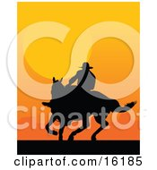 Western Cowboy Riding A Horse And Silhouetted Against An Orange Sunset Clipart Illustration Image