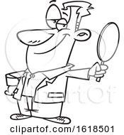 Poster, Art Print Of Cartoon Lineart Vain Man Holding A Mirror