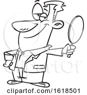 Cartoon Lineart Vain Man Holding A Mirror