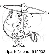 Cartoon Lineart Cowboy Swinging A Lasso And Performing A Rope Trick