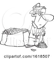 Poster, Art Print Of Cartoon Lineart Tired Old Man After Raking And Bagging Autumn Leaves