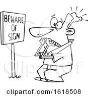 Cartoon Outline Man Scared In Front Of A Posted Beware Of Sign