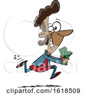Cartoon Black Woman Running To Spend Money