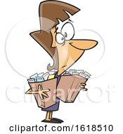 Cartoon White Woman Carrying Bags Of Receipts