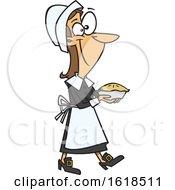 Cartoon Pilgrim Woman Carrying A Pie