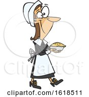 Cartoon Pilgrim Woman Carrying A Pie