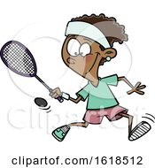 Cartoon Black Girl Playing Squash