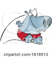 Cartoon Pool Cleaner Hippo Jumping by toonaday