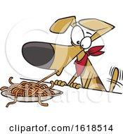 Poster, Art Print Of Cartoon Dog Eating Spaghetti