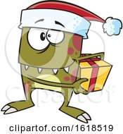 Cartoon Christmas Elf Monster Holding A Gift by toonaday