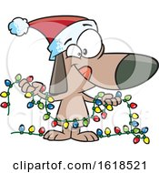 Poster, Art Print Of Cartoon Festive Christmas Dog Holding Lights