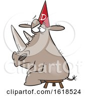 Cartoon Rhino Wearing A Dunce Hat by toonaday