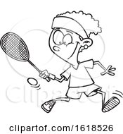 Cartoon Outline Black Girl Playing Squash