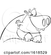 Cartoon Outline Pool Cleaner Hippo Jumping