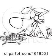 Poster, Art Print Of Cartoon Outline Dog Eating Spaghetti